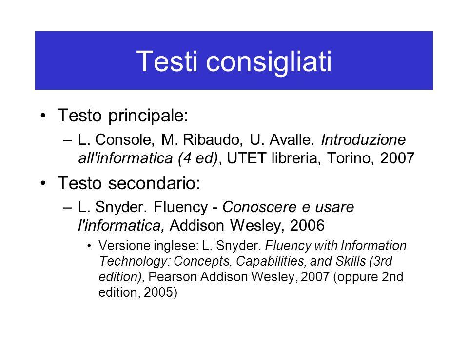 Testi consigliati Testo principale: Testo secondario: