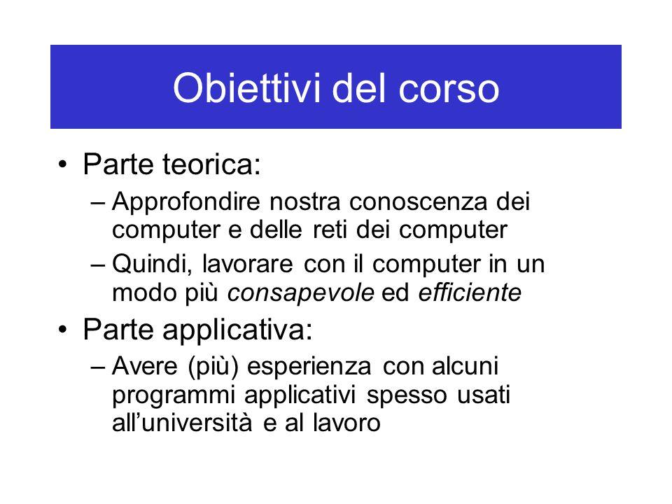 Obiettivi del corso Parte teorica: Parte applicativa: