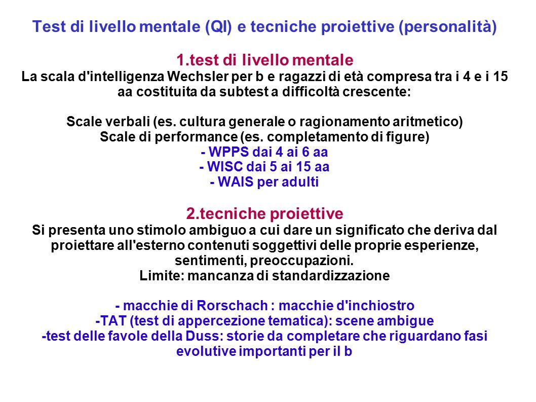 Test di livello mentale (QI) e tecniche proiettive (personalità)