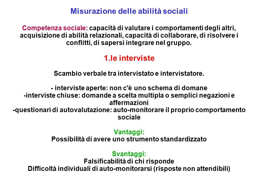 Misurazione delle abilità sociali 1.le interviste