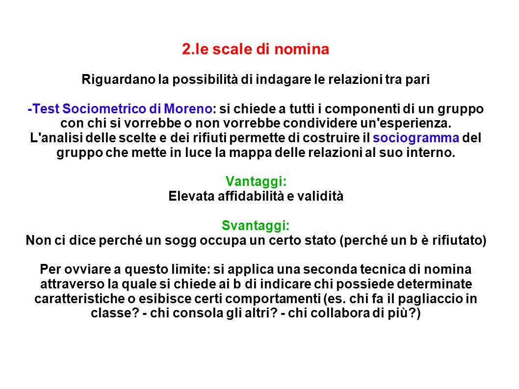 2.le scale di nomina Riguardano la possibilità di indagare le relazioni tra pari.
