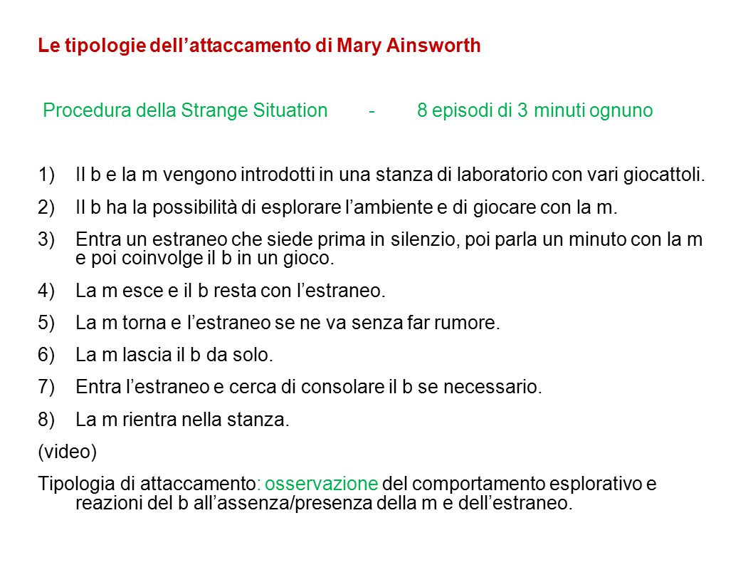 Le tipologie dell'attaccamento di Mary Ainsworth