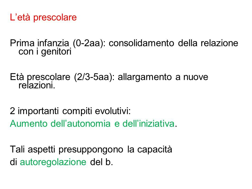 L'età prescolare Prima infanzia (0-2aa): consolidamento della relazione con i genitori Età prescolare (2/3-5aa): allargamento a nuove relazioni.