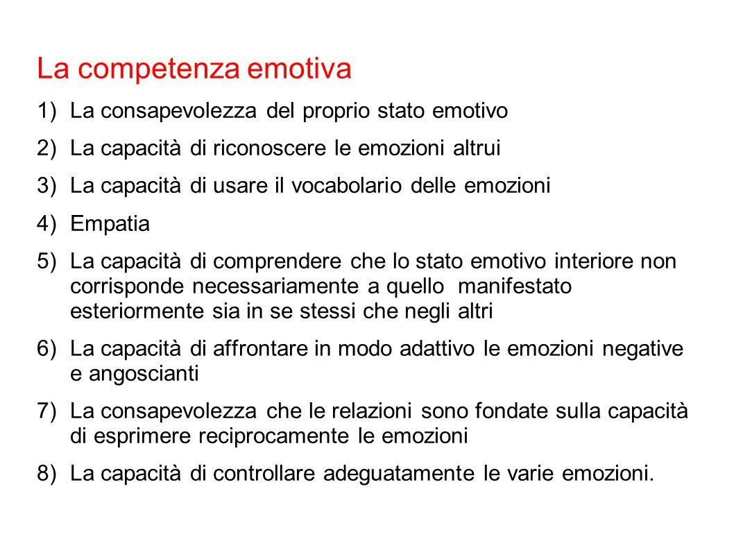 La competenza emotiva La consapevolezza del proprio stato emotivo