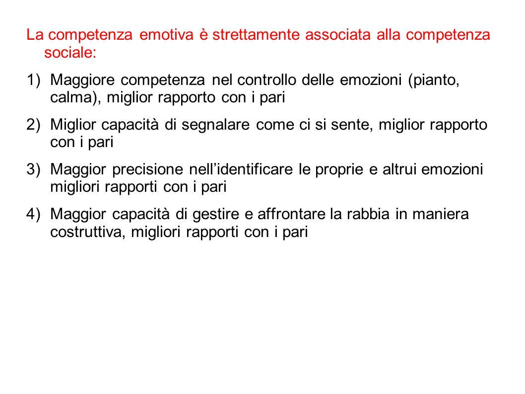 La competenza emotiva è strettamente associata alla competenza sociale: