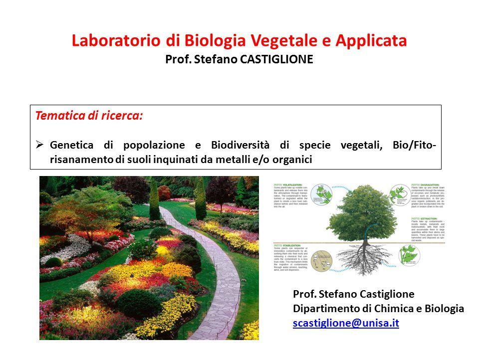 Laboratorio di Biologia Vegetale e Applicata Prof. Stefano CASTIGLIONE