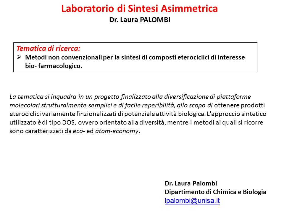 Laboratorio di Sintesi Asimmetrica