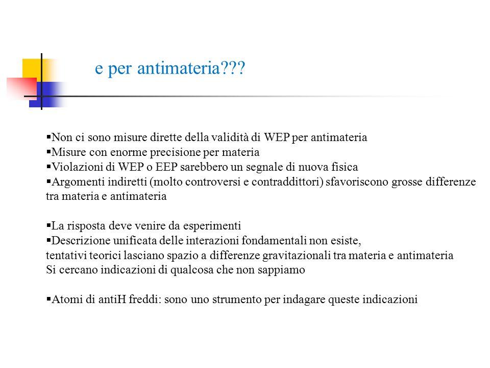 e per antimateria Non ci sono misure dirette della validità di WEP per antimateria. Misure con enorme precisione per materia.