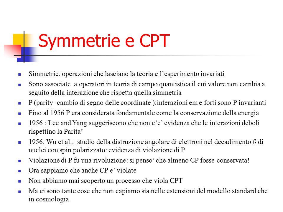 Symmetrie e CPT Simmetrie: operazioni che lasciano la teoria e l'esperimento invariati.