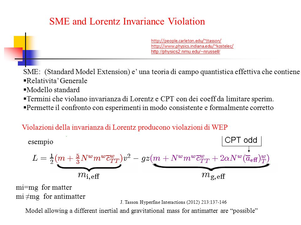 SME and Lorentz Invariance Violation