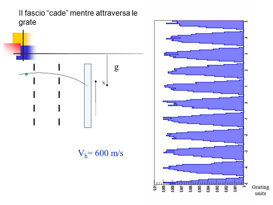 g Vh= 600 m/s Il fascio cade mentre attraversa le grate x