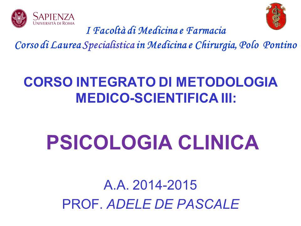 CORSO INTEGRATO DI METODOLOGIA MEDICO-SCIENTIFICA III: