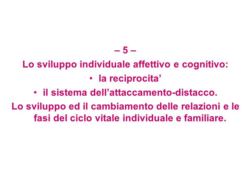 Lo sviluppo individuale affettivo e cognitivo: la reciprocita'