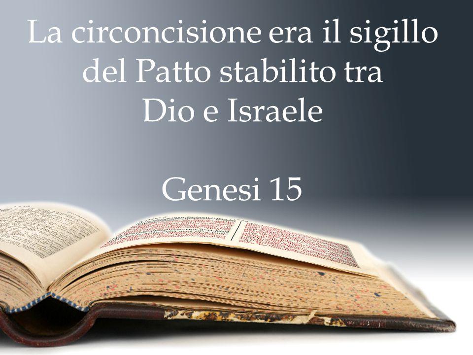 La circoncisione era il sigillo del Patto stabilito tra Dio e Israele Genesi 15