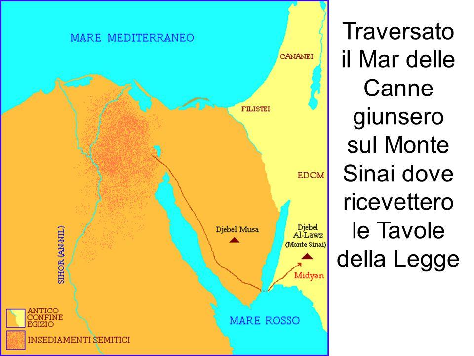 Traversato il Mar delle Canne giunsero sul Monte Sinai dove ricevettero le Tavole della Legge