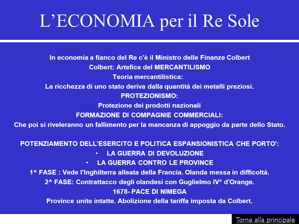 L'ECONOMIA per il Re Sole