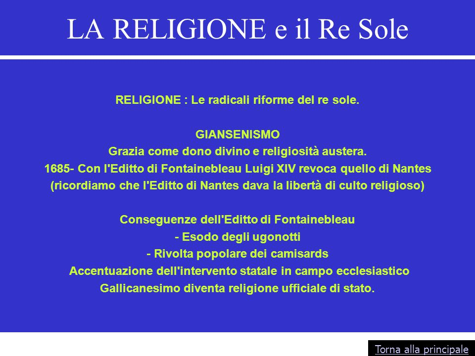 LA RELIGIONE e il Re Sole