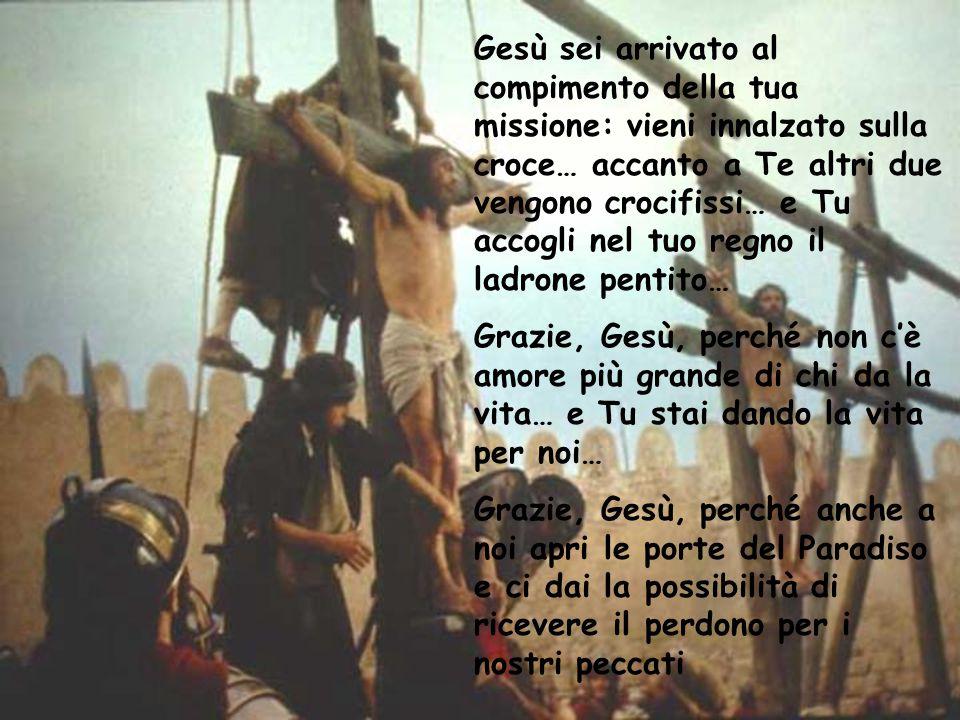 Gesù sei arrivato al compimento della tua missione: vieni innalzato sulla croce… accanto a Te altri due vengono crocifissi… e Tu accogli nel tuo regno il ladrone pentito…