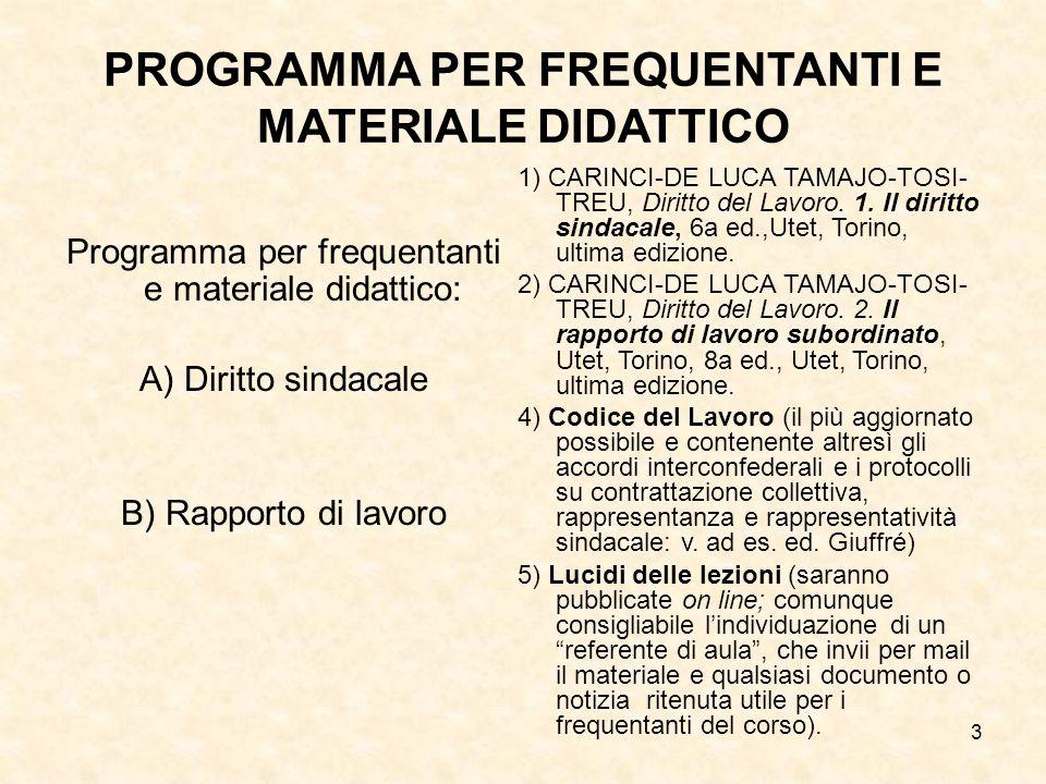 PROGRAMMA PER FREQUENTANTI E MATERIALE DIDATTICO
