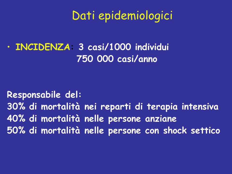 Dati epidemiologici INCIDENZA: 3 casi/1000 individui 750 000 casi/anno