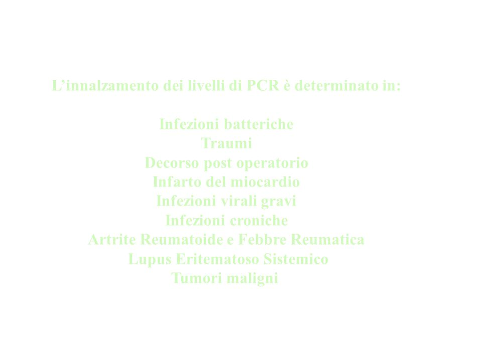 L'innalzamento dei livelli di PCR è determinato in: