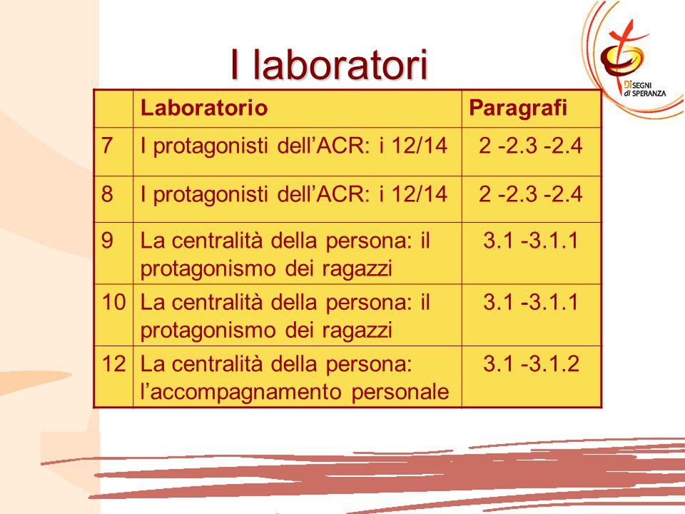 I laboratori Laboratorio Paragrafi 7 I protagonisti dell'ACR: i 12/14