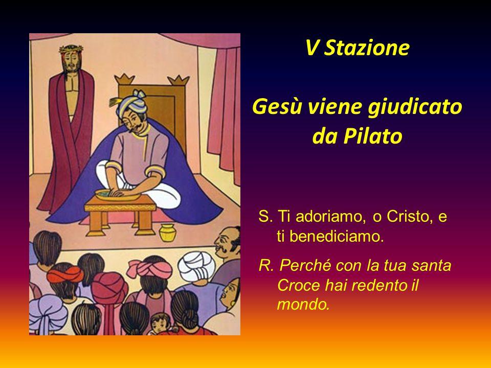 V Stazione Gesù viene giudicato da Pilato