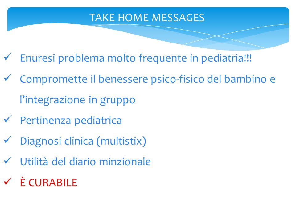 TAKE HOME MESSAGES Enuresi problema molto frequente in pediatria!!! Compromette il benessere psico-fisico del bambino e l'integrazione in gruppo.