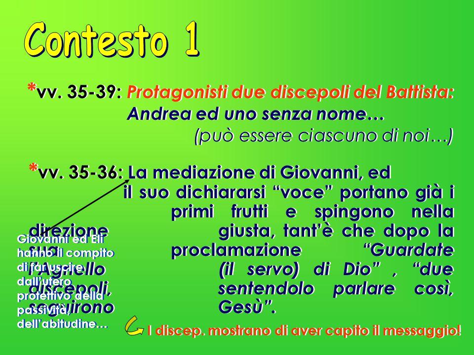 Contesto 1 *vv. 35-39: Protagonisti due discepoli del Battista: Andrea ed uno senza nome… (può essere ciascuno di noi…)