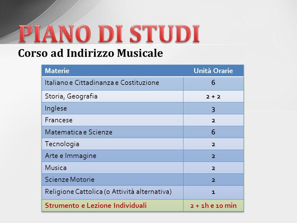 PIANO DI STUDI Corso ad Indirizzo Musicale Materie Unità Orarie