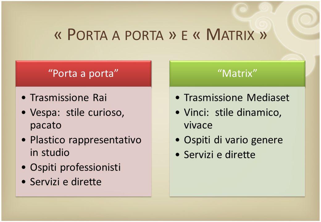 « Porta a porta » e « Matrix »