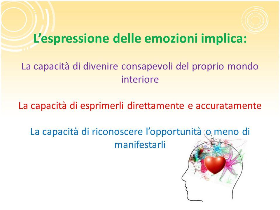 L'espressione delle emozioni implica: La capacità di divenire consapevoli del proprio mondo interiore La capacità di esprimerli direttamente e accuratamente La capacità di riconoscere l'opportunità o meno di manifestarli