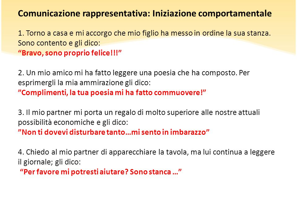 Comunicazione rappresentativa: Iniziazione comportamentale 1