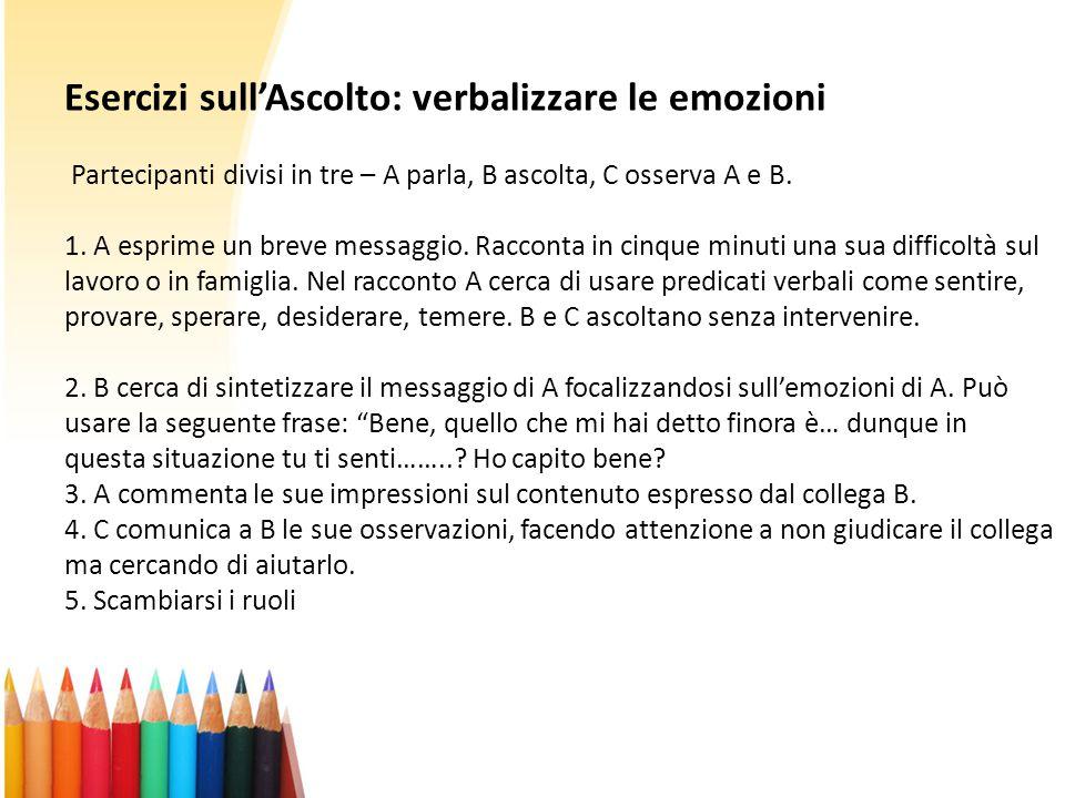 Esercizi sull'Ascolto: verbalizzare le emozioni Partecipanti divisi in tre – A parla, B ascolta, C osserva A e B.