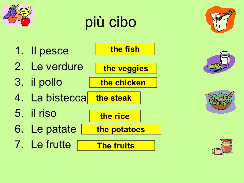 più cibo Il pesce Le verdure il pollo La bistecca il riso Le patate