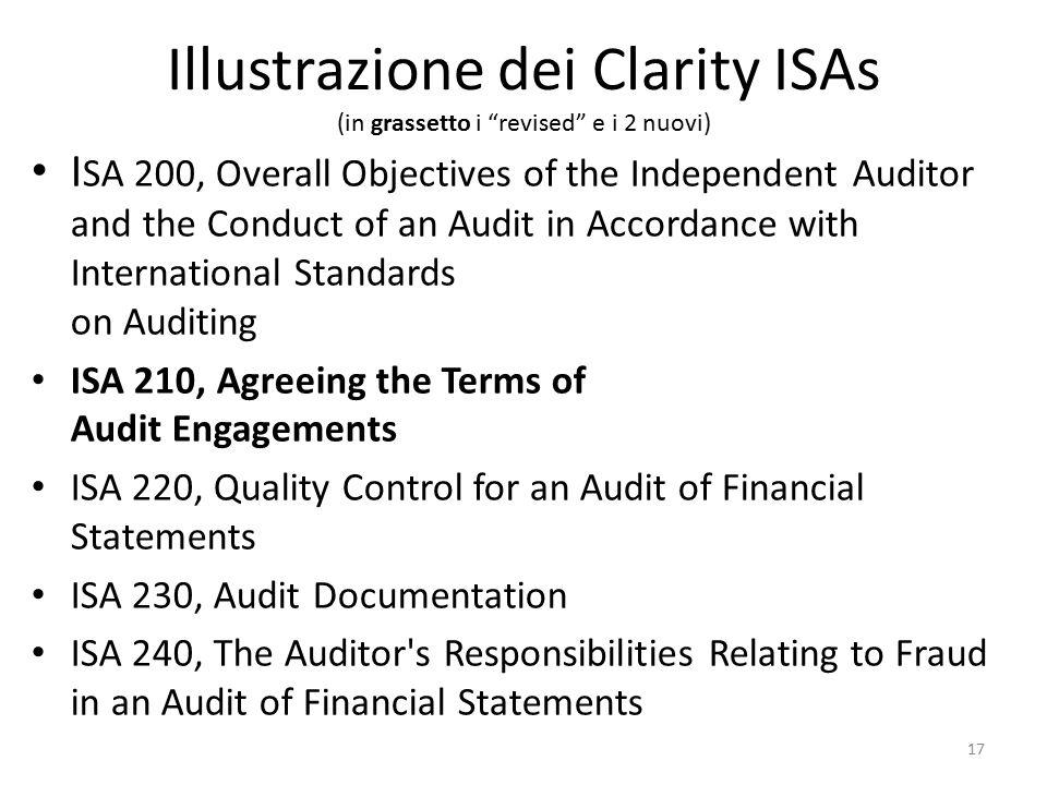 Illustrazione dei Clarity ISAs (in grassetto i revised e i 2 nuovi)