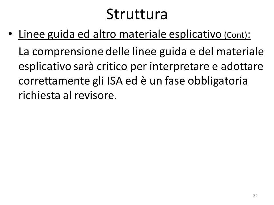 Struttura Linee guida ed altro materiale esplicativo (Cont):