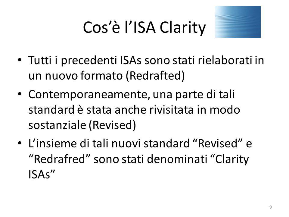 Cos'è l'ISA Clarity Tutti i precedenti ISAs sono stati rielaborati in un nuovo formato (Redrafted)