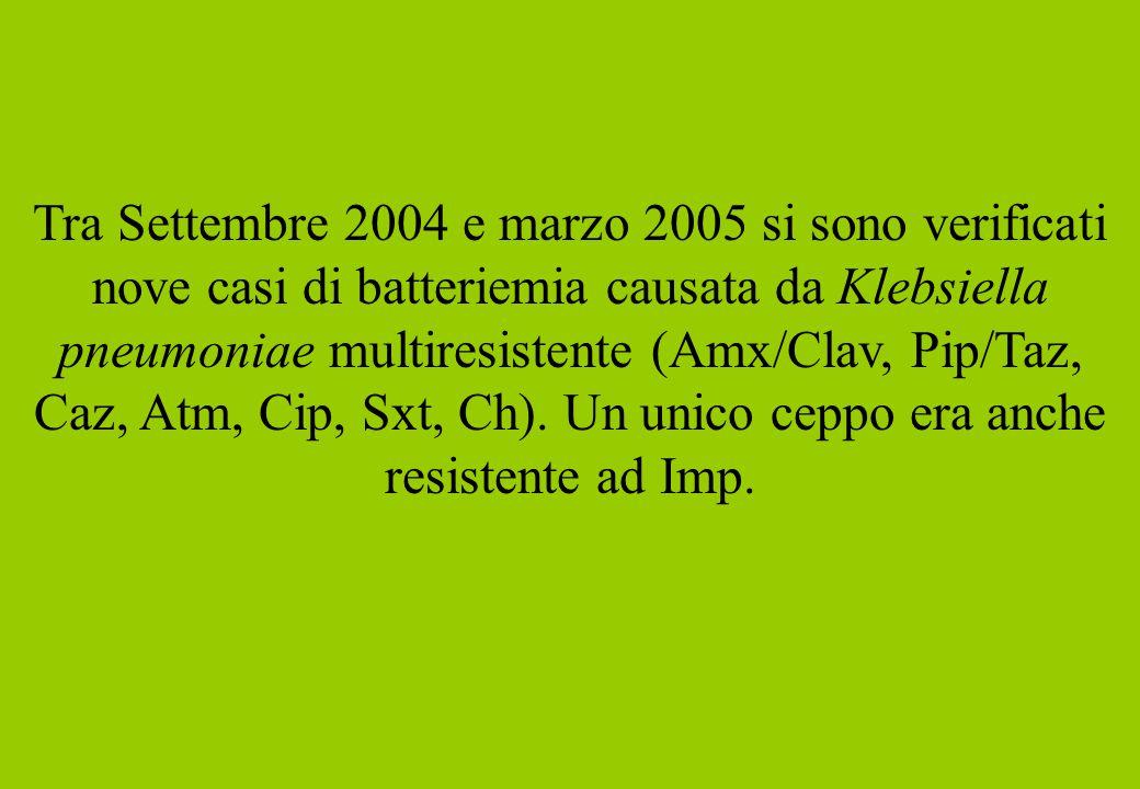 Tra Settembre 2004 e marzo 2005 si sono verificati nove casi di batteriemia causata da Klebsiella pneumoniae multiresistente (Amx/Clav, Pip/Taz, Caz, Atm, Cip, Sxt, Ch). Un unico ceppo era anche resistente ad Imp.