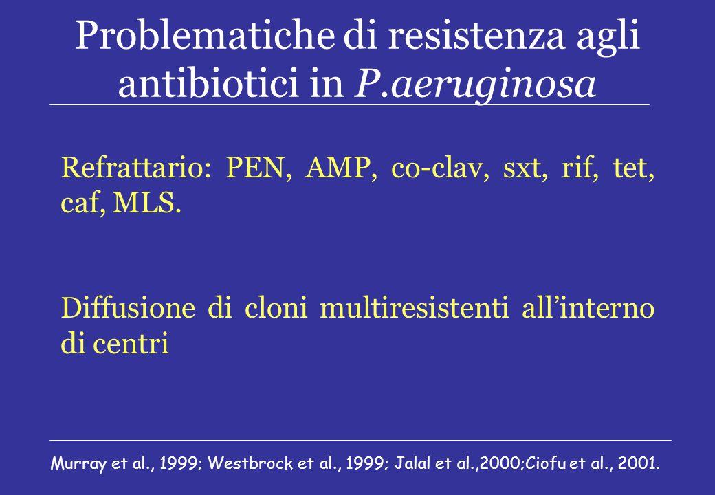 Problematiche di resistenza agli antibiotici in P.aeruginosa