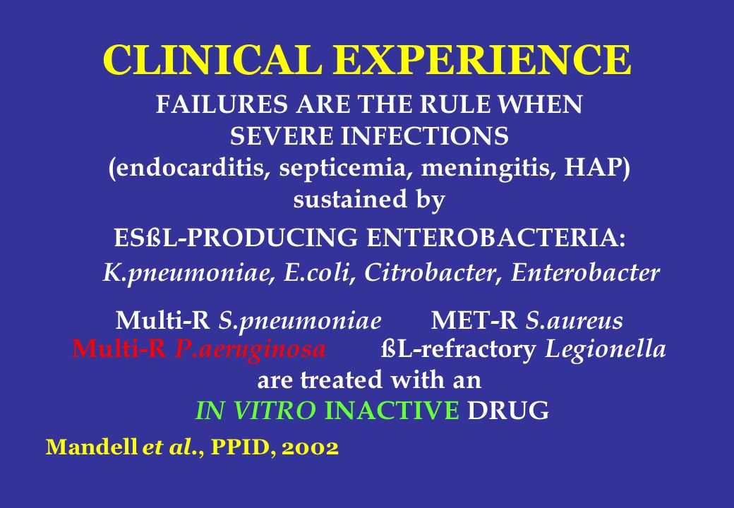 CLINICAL EXPERIENCE FAILURES ARE THE RULE WHEN SEVERE INFECTIONS