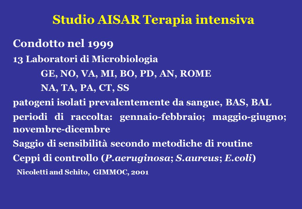 Studio AISAR Terapia intensiva