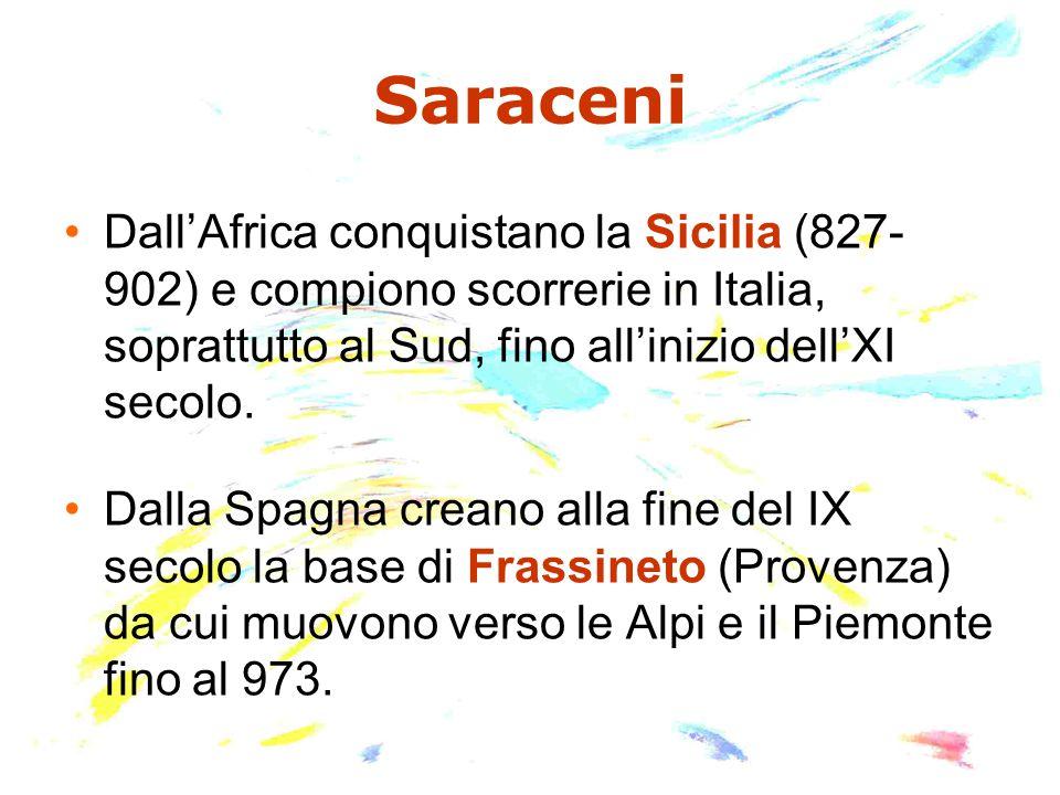Saraceni Dall'Africa conquistano la Sicilia (827- 902) e compiono scorrerie in Italia, soprattutto al Sud, fino all'inizio dell'XI secolo.