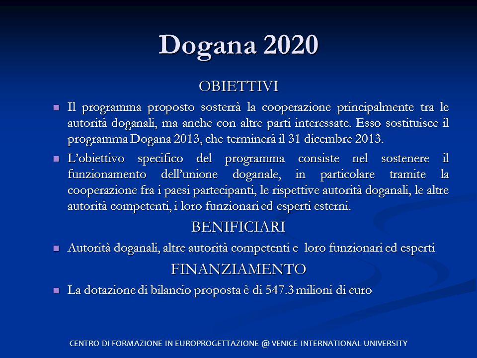 Dogana 2020 OBIETTIVI BENIFICIARI FINANZIAMENTO