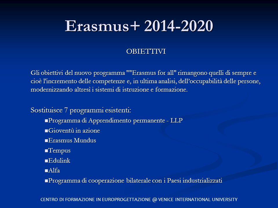 Erasmus+ 2014-2020 OBIETTIVI Sostituisce 7 programmi esistenti: