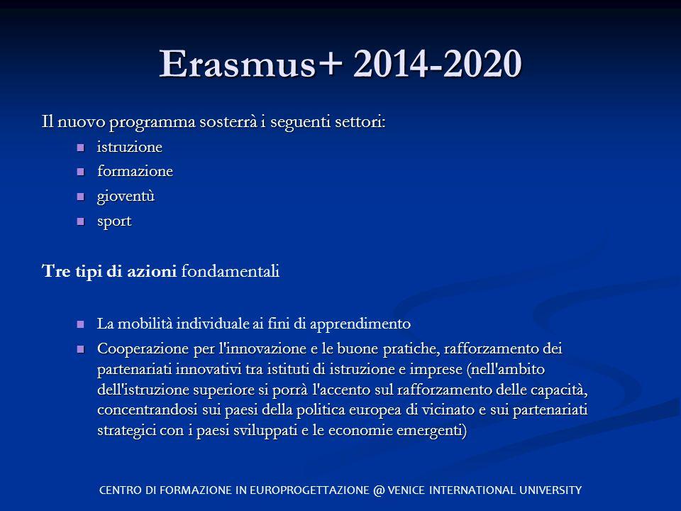 Erasmus+ 2014-2020 Il nuovo programma sosterrà i seguenti settori: