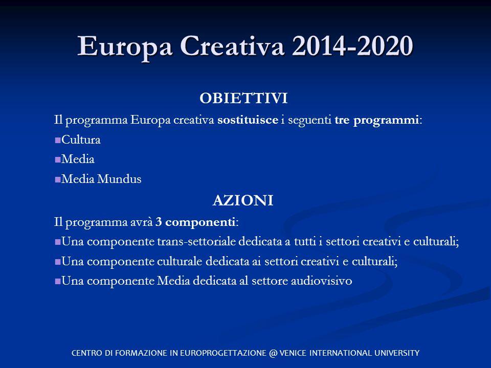 Europa Creativa 2014-2020 OBIETTIVI AZIONI