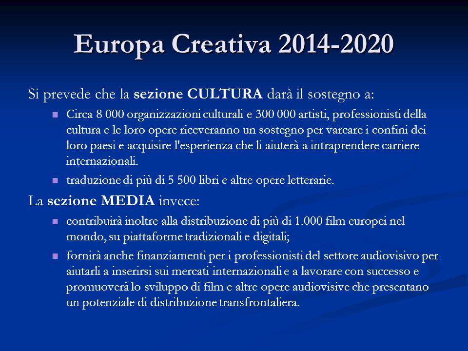 Europa Creativa 2014-2020 Si prevede che la sezione CULTURA darà il sostegno a: