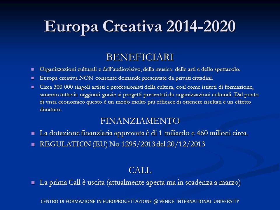 Europa Creativa 2014-2020 BENEFICIARI FINANZIAMENTO CALL