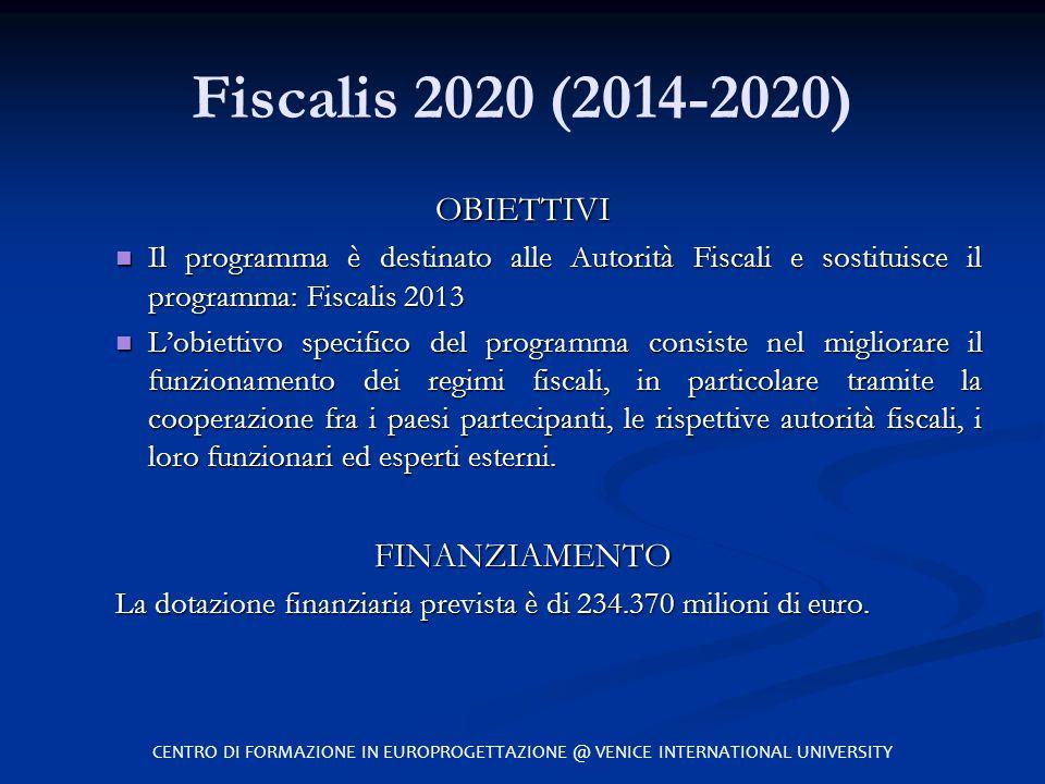 Fiscalis 2020 (2014-2020) OBIETTIVI FINANZIAMENTO